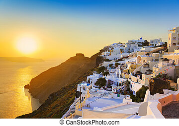 Santorini sunset - Greece - Santorini sunset (Firostefani) -...