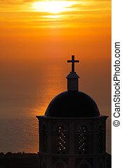 santorini, východ slunce, církev