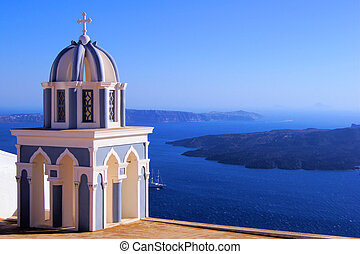 Santorini views - Santorini caldera view with traditional...