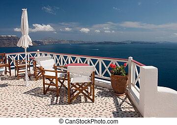 santorini, vue, depuis, balcon