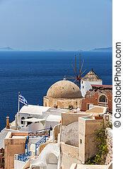 Santorini Windmill and Church