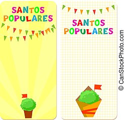 Santos Populares (Popular Saints) holiday template cards. Vector illustrations with bunting garlands and manjerico (basil) plants.