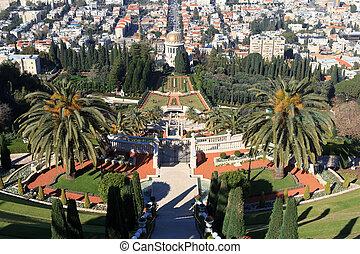 santuario, bab, haifa, terrazas, israel, vista, panorama, ...