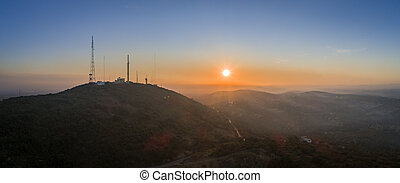 sao , λόφος , επαρχία , miguel , ηλιοβασίλεμα , εναέρια , cerro , algarve., τοπίο , βλέπω