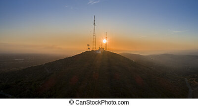 sao , λόφος , miguel , ηλιοβασίλεμα , εναέρια , cerro , algarve., τοπίο , βλέπω