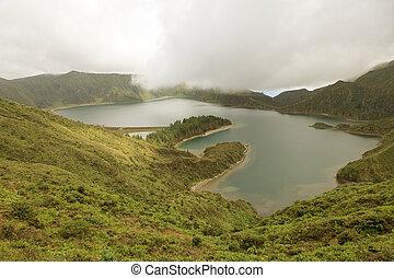 sao, açores, lago ilha, miguel, paisagem