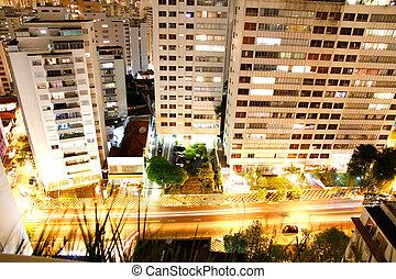 Sao Paulo at night - Skyline of Higienopolis, Sao Paulo,...
