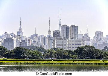 Sao Paulo (Brazil) Park and skyscrapers - Sao Paulo (Brazil)...