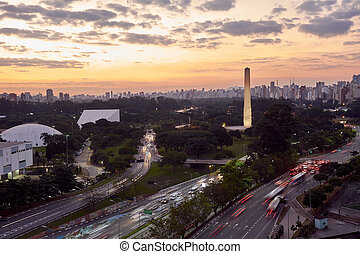 Sao Paulo city at nightfall, Brazil