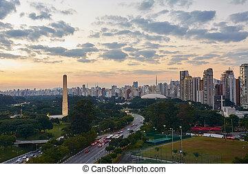 Sao Paulo city at nightfall, Brazil. Ibirapuera Park