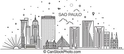 Linear banner of Sao Paulo. Business travel and tourism concept with modern buildings