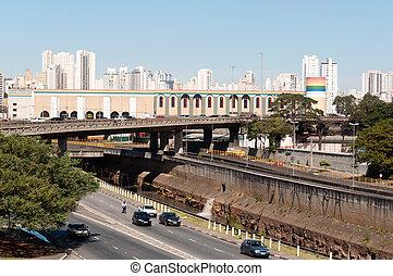 Sao Paulo City - Sao Paulo, east west viaduct and Avenue of...