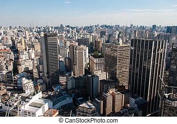 Sao Paulo massive concrete buildings in Brazil