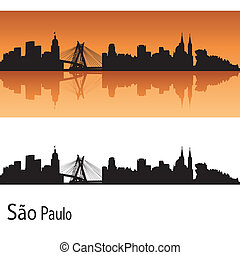 Sao Paulo skyline in orange background in editable vector...