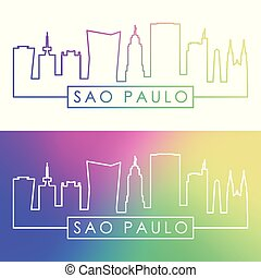 Sao Paulo skyline. Colorful linear style.