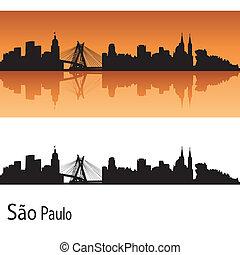 Sao Paulo skyline in orange background in editable vector...