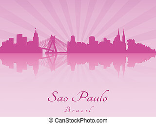 Sao Paulo skyline in purple radiant orchid