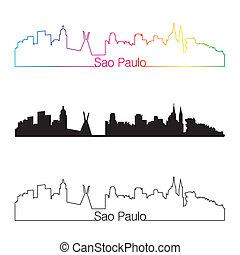Sao Paulo skyline linear style with rainbow in editable vector file