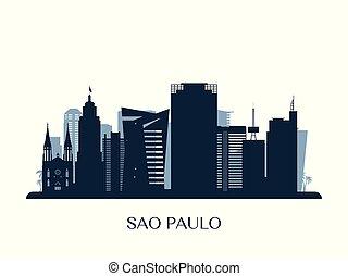 Sao Paulo skyline, monochrome silhouette.