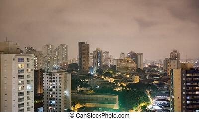 Sao Paulo skyline night time lapse with skyscrapper...