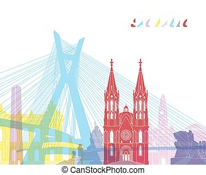 Sao Paulo skyline pop in editable vector file