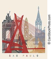 Sao Paulo skyline poster in editable vector file