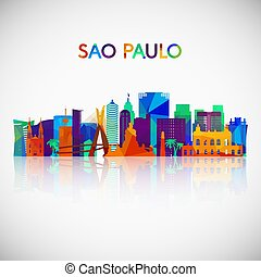 Sao Paulo skyline silhouette in colorful geometric style.