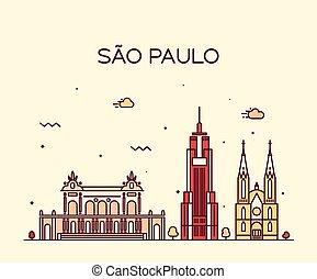 Sao Paulo skyline trendy vector linear style