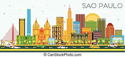 Sao Paulo Skyline with Color Buildings and Blue Sky.