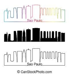 Sao Paulo V2 skyline linear style with rainbow