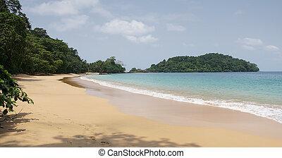 sao, principe, áfrica, coco, praia, tomo