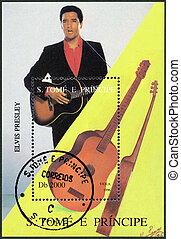 SAO TOME AND PRINCIPE - CIRCA 1996: A stamp printed in Sao Tome and Principe shows Elvis Presley (1935-1977), circa 1996