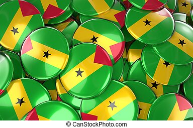 Sao Tome and Principe Badges Background. 3D Rendering