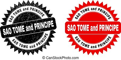 Black rosette SAO TOME AND PRINCIPE seal stamp. Flat vector distress seal with SAO TOME AND PRINCIPE caption inside sharp rosette, and original clean version. Watermark with distress style.