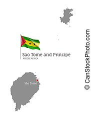 Sao Tome and Principe country map. Gray editable map with waving national flag and Sao Tome city capital, Middle Africa country territory borders vector illustration on white background