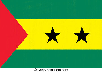 Sao Tome and Principe flag drawing by pastel on charcoal paper