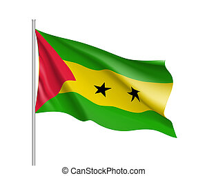 Sao Tome and Principe flag. Illustration of African country...
