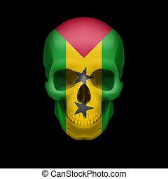 Sao Tome and Principe flag skull - Human skull with flag of...
