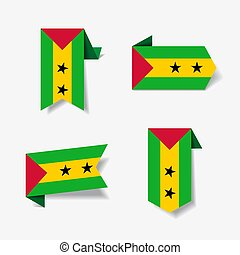 Sao Tome and Principe flag stickers and labels. Vector...