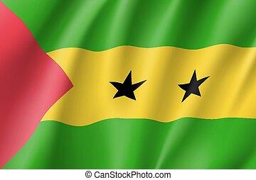 Sao Tome and Principe flag. National patriotic symbol in...
