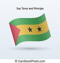 Sao Tome and Principe flag waving form. - Sao Tome and...
