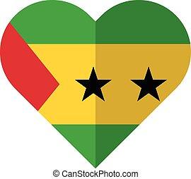 Sao Tome and Principe flat heart flag - Vector image of the...
