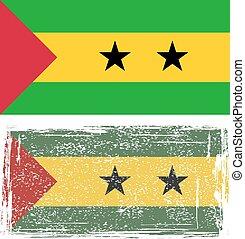 Sao Tome and Principe grunge flag. Vector illustration....