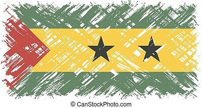 Sao Tome and Principe grunge flag. Vector illustration.
