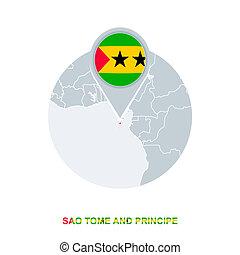 Sao Tome and Principe map and flag, vector map icon with highlighted Sao Tome and Principe