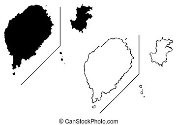 Sao Tome and Principe map vector illustration, scribble...