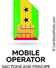 Sao Tome and Principe mobile operator. SIM card with flag....