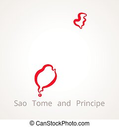 Sao Tome and Principe - Outline Map - Outline map of Sao...