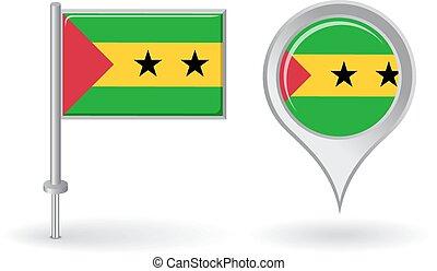 Sao Tome and Principe pin icon, map pointer flag. Vector