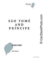 Sao Tome and Principe political map with capital. Democratic...
